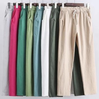 Lniane spodnie dla kobiet 2021 bawełniana pościel na lato kobieta klasyczne spodenki Capri dla dziewczynek luźne spodnie dorywczo Harem brown black tanie i dobre opinie AmynickA Proste Z bawełny i lnu LOOSE Spodnie do kostek Z elementami naszywanymi CN (pochodzenie) HIGH Stałe Na co dzień