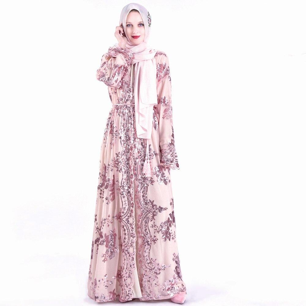 Abaya Islamic Fashion Summer Dress Chiffon Embroidery Belt Women's Robe Muslim Arab Ramadan Robe Turkish Kaftan Clothing