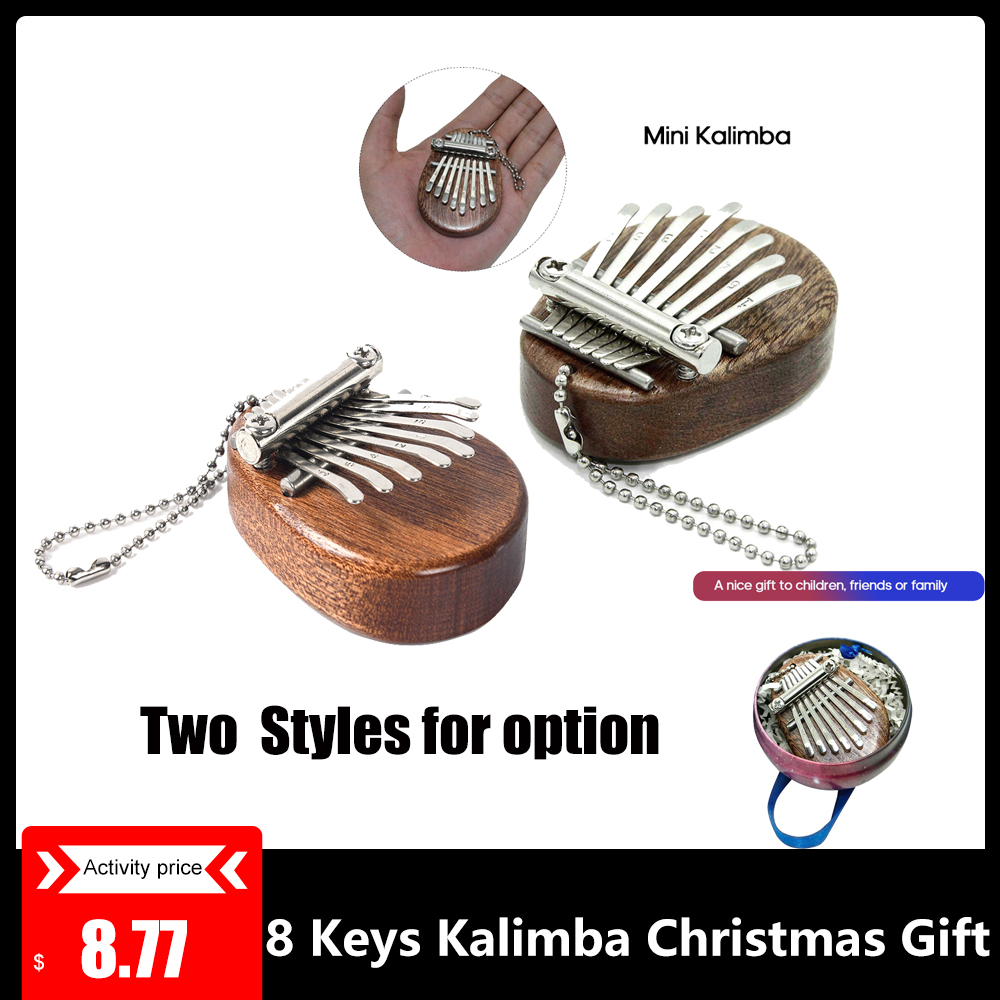 8 Keys Kalimba Mini Portable Thumb Piano Finger Percussion Keyboard Pocket Musical Instrument Christmas Gift Toy Pendant For Kid