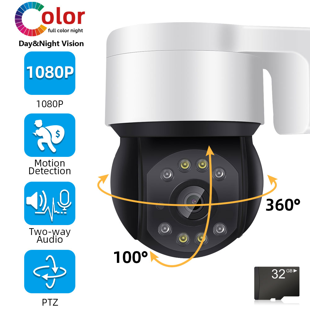 1080P Onvif IP Poe PTZ Camera Outdoor Two Way Audio Full color Dome Security Cameras CCTV Video Surveillance System Kit