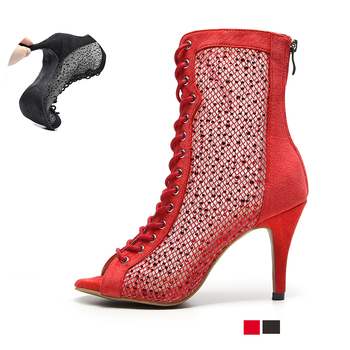 Women Latin Dance Boots for Woman Bachata Salsa Dance Shoes Black Red Soft Sole Ballroom Dancing Shoes for Wedding Party Sandals sparkle glitter woman girl dance dancing latin raks sharki belly ball prom shoes silver gold blue red brown black leather sole