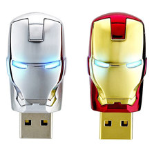 Super Heros The Avengers Pen-drive Micro Iron Man Head USB Flash Drive 2.0 Metal Storage Disk Computer Photo Stick Real Capacity(China)