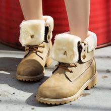 Snow Boots Women 2019 Heels Winter Boots Women Shoes Lace Up Flock Women Ankle Boots Warm Fur Plush Insole Winter Shoes Woman