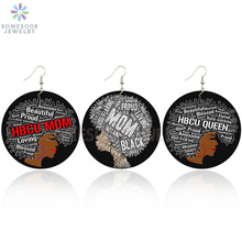 SOMESOOR Both Sides Printing HBCU MOM QUEEN AFRO Wooden Drop Earrings Proud Black Sayings African Wood Jewelry For Women Gifts туника proud mom proud mom mp002xw152vm