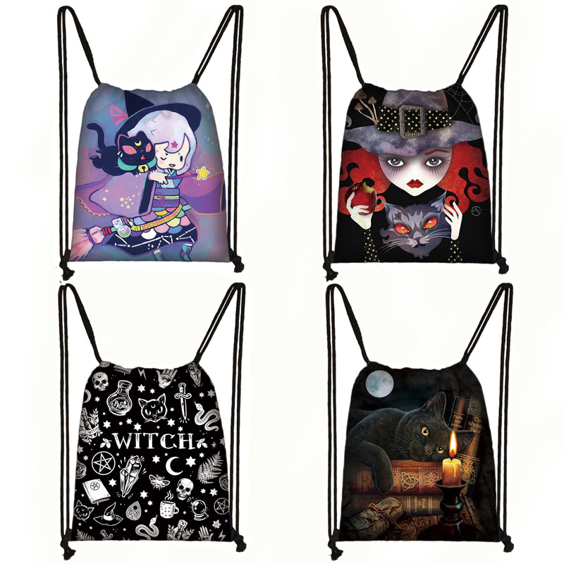 Cute Witch / Fairy / Black Cat Print Drawstring Bag Women Canvas Travel Bag Fashion Storage Bag Teenager Girls Backpack