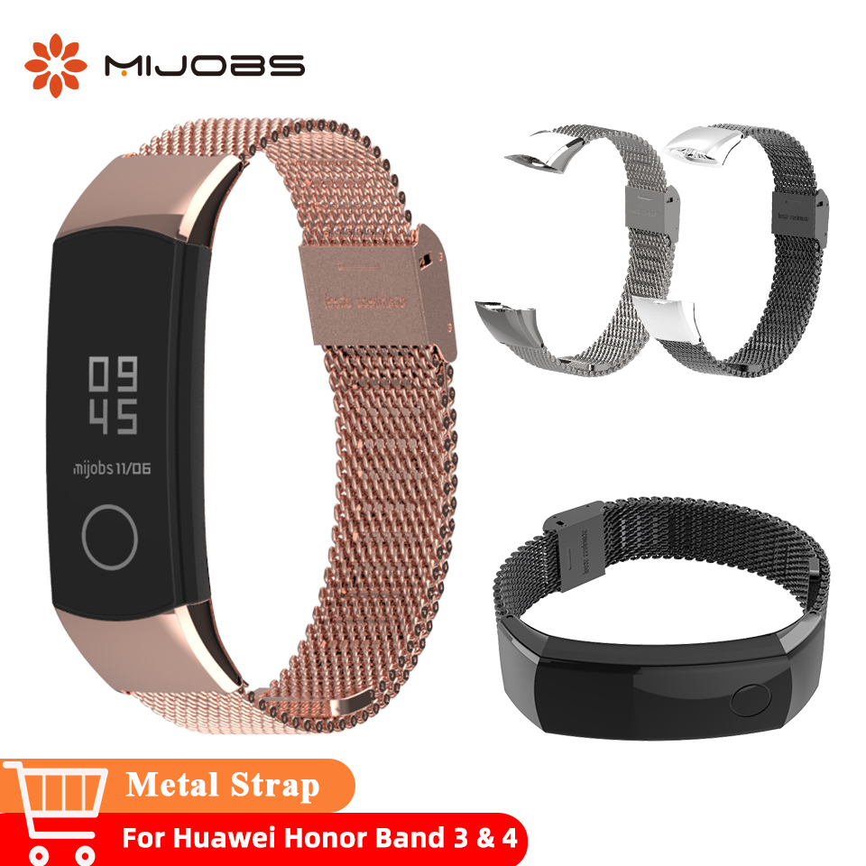 Mijobs Milanese Metal Strap 155-255mm Watch Band Wristband Stainless Steel Bracelets For Huawei Honor 3 Band 4 Smart Accessories