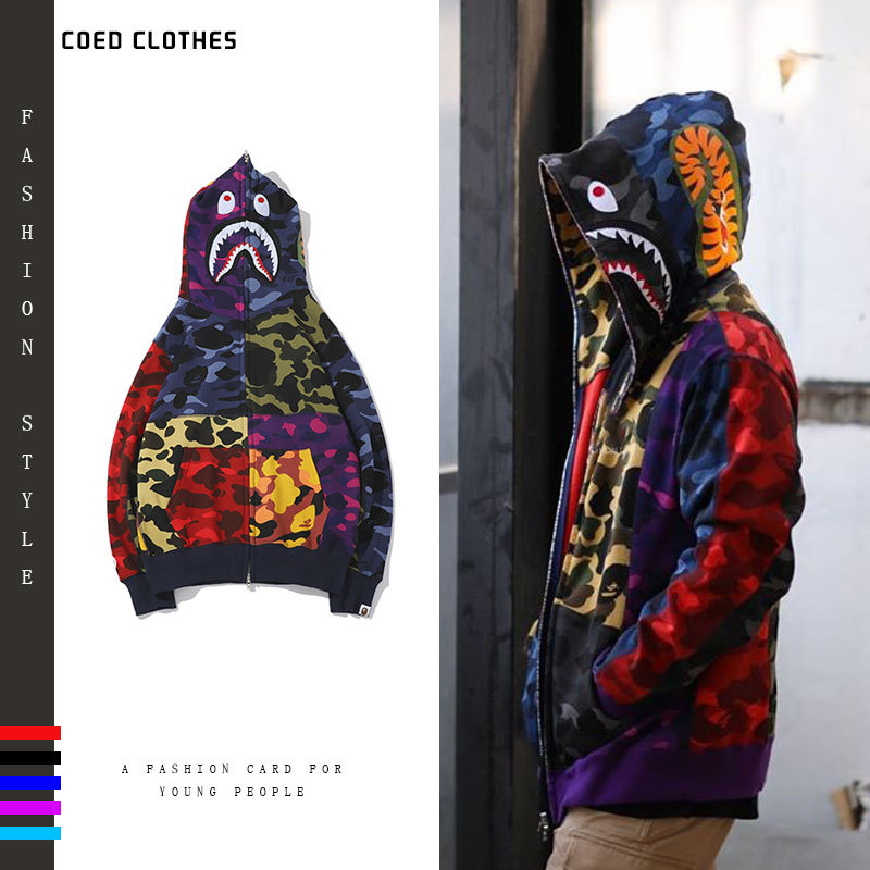 BAPE Mens Designer Hoodies 20ss Men Women Designer Blue Camouflage Jacket Bape Mens High Quality Couple loose hoodies Size M-3XL