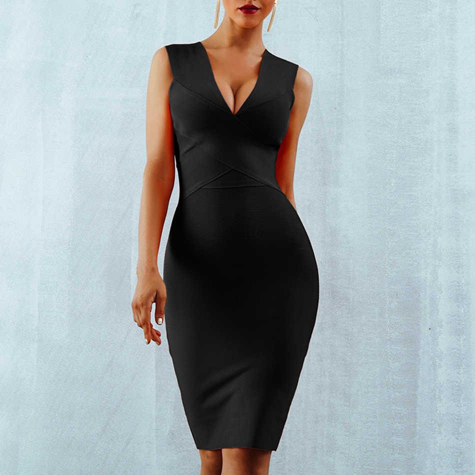 Seamyla Клубная сексуальная одежда Вечерние платья 2019 Новое поступление оранжевое, без рукавов винно-красные женские бандажные платья обтягивающие, Vestidos