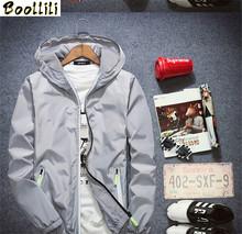 2020 Plus rozmiar 6XL 7XL z kapturem męskie kurtki jesień wiosna na co dzień cienkie męskie kurtki i płaszcze niebieski kurtki-pilotki mężczyźni płaszcz tanie tanio zipper FYY288 REGULAR STANDARD NONE Poliester Stałe Krótki Kieszenie Konwencjonalne Outerwear Coats Jackets black blue white gray or