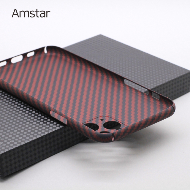 Amstar Pure Carbon Fiber Lens Protection Phone Case for iPhone 12 11 Pro Max 12 Mini Ultra Thin Carbon Fiber Hard Cover Cases 6