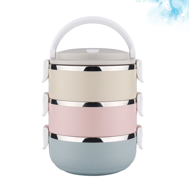2100mnl Stainless Steel Meal Box 3 Layers Thermal Food Container Food Storage Box with Handle for Students Workers Patients