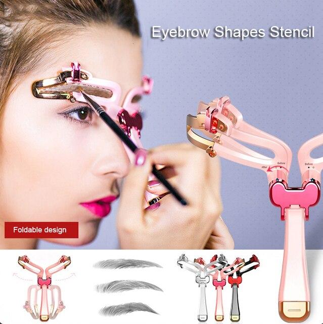 2019 New Adjustable Eyebrow Stencil 3 IN 1 Eye Makeup Shape Eyebrow Shaper Template Eyebrows Card Beauty Tool Makeup Model TSLM1 1