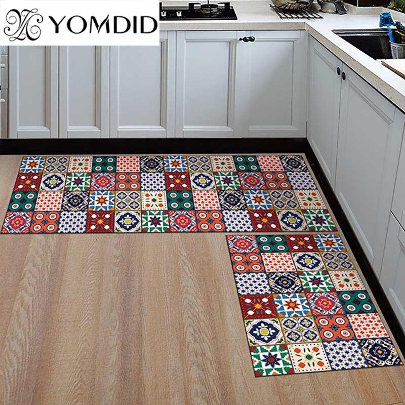 Tapis de cuisine moins cher anti-dérapant moderne tapis salon balcon salle de bain imprimé tapis paillasson couloir géométrique tapis de bain
