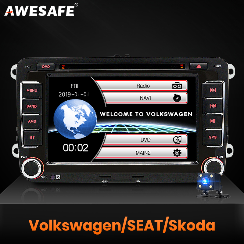 AWESAFE Radio-Player Autoradio DVD Seat VW Sharan Skoda Passat B6 Touran 7inch Car 2-Din title=