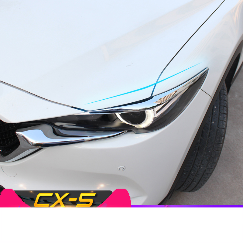 For <font><b>Mazda</b></font> CX-5 <font><b>CX5</b></font> <font><b>2017</b></font> 2018 2019 Front Headlight Head Lamp Eyebrow Eyelid Cover Trim Exterior <font><b>Accessories</b></font> ABS Chrome Auto Trim image