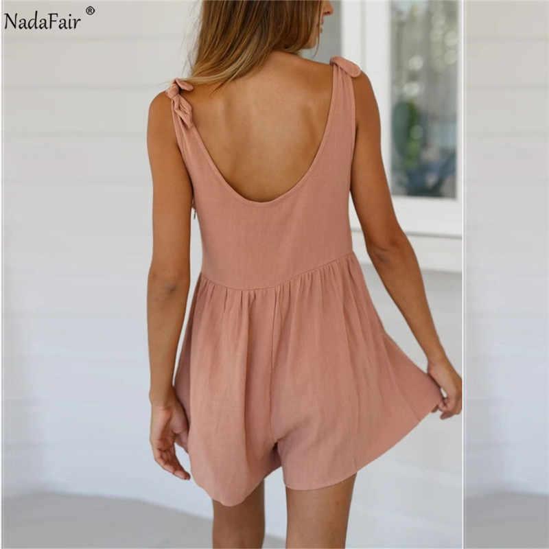 Nadafair salopette pour femmes combishort 2020 décontracté O cou nœud solide épaules nues dos nu Sexy combinaison femme