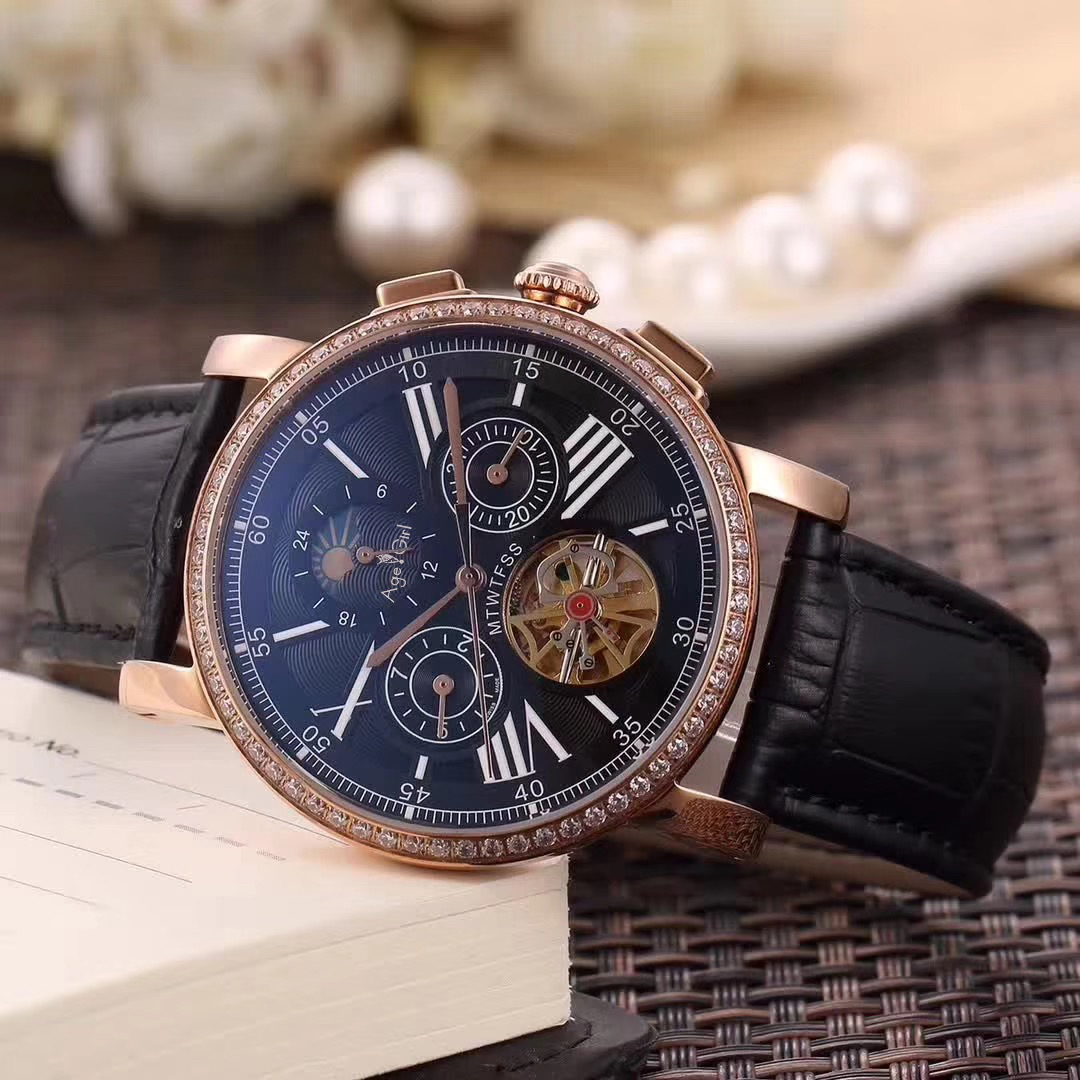 Luxury Brand New Men Automatic Mechanical Watch Rose Gold Diamonds Leather Tourbillon MoonPhase Dual Time Skeleton Sapphire AAA+