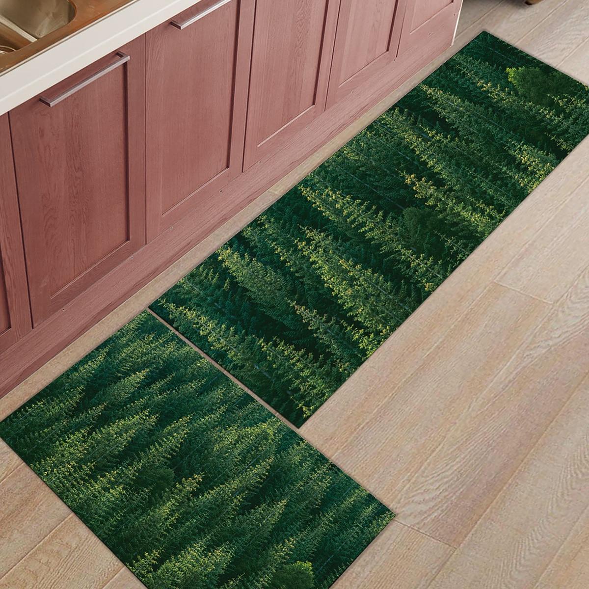Tapis de cuisine 2 pièces beau paysage naturel de la forêt primitive paillassons pour entrée façon salle de bain salon porte tapis