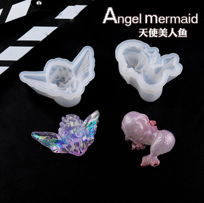 PopularDIY Mermaid Angel Silicone UV Resin Jewelry Tools Dried Flower Molds Handmade Pendant Jewelry Tool