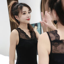 40 Weaving Yarn Bit Cotton Spell Lace Camisole Japanese Korean Tight-Fit Small Camisole Black And White 2-piece Pack(China)