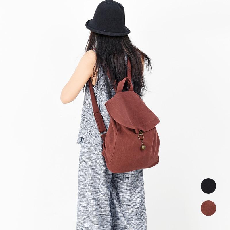 Vintage Washed Cotton Canvas Women Backpack School Bag For Teenager Girl Linen Backpack Female Rucksack Travel Bag