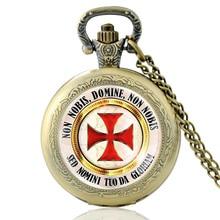 Vintage Knight Templar Cross  Glass Dome Quartz Pocket Watch Classic Men Women Bronze Necklace Pendant Gifts