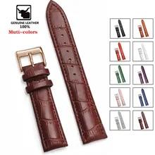 Watchbands Strap Buckle-Band Wrist-Belt Steel-Pin Bracelet--Tool High-Quality Genuine-Leather