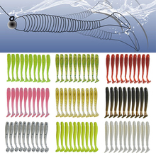 10Pcs/lot T tail Larva Soft Lures 48mm 0.8g Silicone Swimbaits isca Artificial Bait Worm Wobblers Bass Pike Carp Fishing