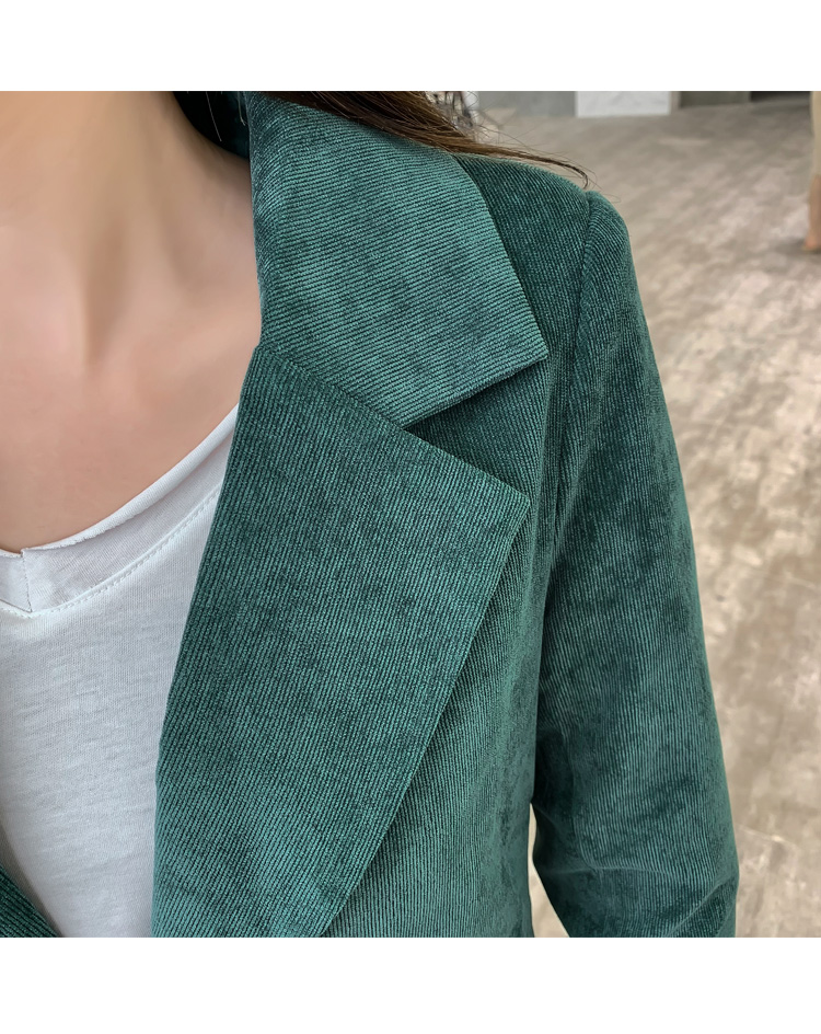 Autumn Winter Blazer Pants Suit Women Korean Chic Fashion Office Ladies Green Corduroy Casual High Waist Small Feet Pants Suit 60