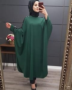 Image 3 - Plus Size Islamic Clothing Muslim Dress Women Dubai Turkish Long Robe Kimono Sequin Ethnic Style Seven point Sleeve Wild Dresses