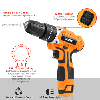 Electric Impact drill  25+1 Torque Power Tools  2-Speed Cordless Impact drill Drill With lithium battery Electric Screwdriver japan makita hr2610 impact drill electric hamme electric pick 3 function power tools powerful 800w motor 4 600ipm 1 200rpm