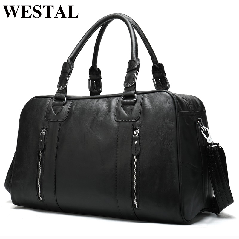 WESTAL Large Capacity Men Travel Bags Genuine Leather Travel Duffle Bags Casual Suitcase Big Weekend Bag For Men Shoulder Bag