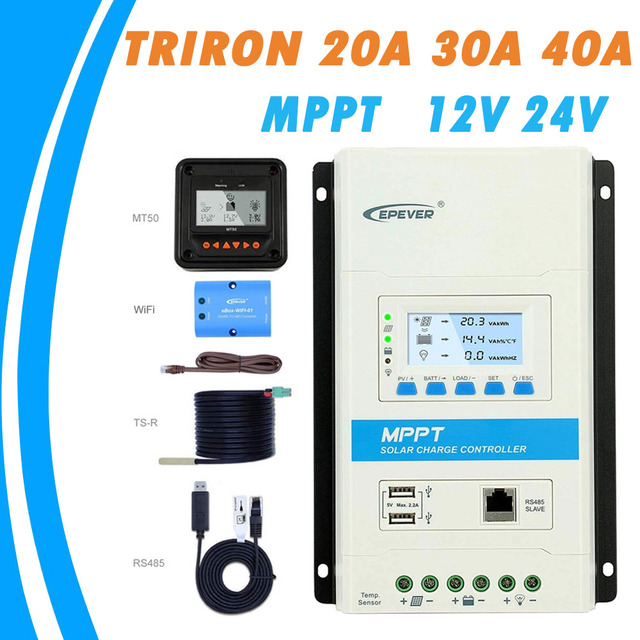 40A 30A 20A TRIRON Modular MPPT Solar Charge Controller Epever 12V/24VDC Charger Regulator with Dual USB and Black-lighting LCD 1