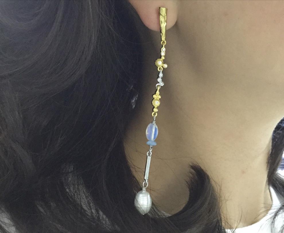 Mode cristal perle boucles d'oreilles classique différent A B boucles d'oreilles élégant asymétrique géométrique boucle d'oreille longue gland chaîne bijoux
