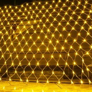 Image 1 - Guirlande lumineuse en maille 2x2M 3x2M 6x4M, rideau de fenêtre en maille, lumière de noël, fête de mariage, lumière de vacances