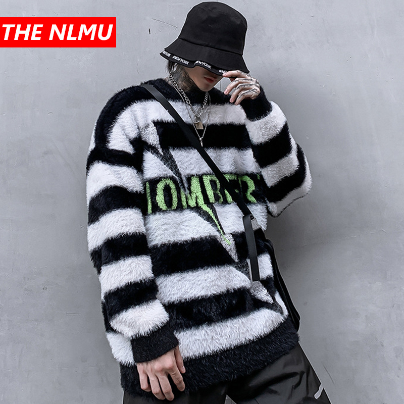 Harajuku Stripe Sweaters Men Hip Hop Loose Pullover Sweater Streetwear Male Female Fashion Winter 2019 Clothing WG588