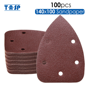 TASP 100pcs 140x100mm Detail Sander Sandpaper 6 Hole Hook & Loop Detail Sanding Disc Abrasive Tools Grit 60/80/120/180/240 фото