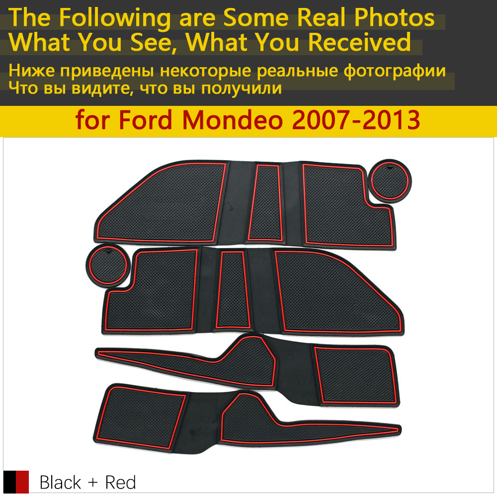 Image 2 - Anti Slip Rubber Cup Cushion Door Groove Mat for Ford Mondeo MK4 2007~2013 2008 2009 2010 2011 2012 Accessories mat for phone-in Car Stickers from Automobiles & Motorcycles