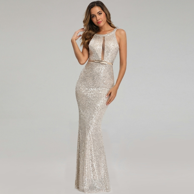 YIDINGZS See-through Sexy Long Formal Party Dress Off-shoulder Silver Sequins Evening Dress YD16363 2