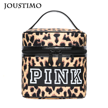 Women Leopard Handbag Box Zipper Top-handle Bags Large Capacity Letters Cosmetic Bag Outdoor Travel  Female Makeup Storage Packs 1