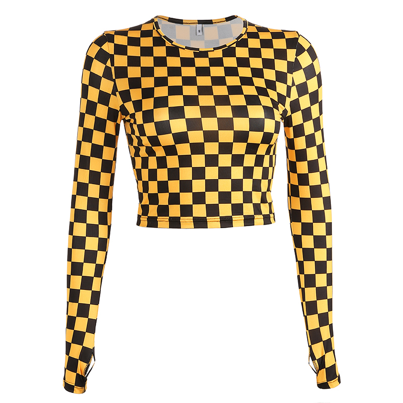 Jazz Costume Plaid Round Neck Long Sleeve T-Shirt Adults Hip Hop Clothes Street Dancing Rave Outfit Women Dancer Wear DT1668