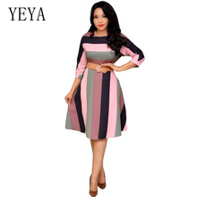YEYA Good Quality Rainbow Print Left and Right Alignment Elegant Dress Sexy O-neck Loose Vintage Striped Fashion Women