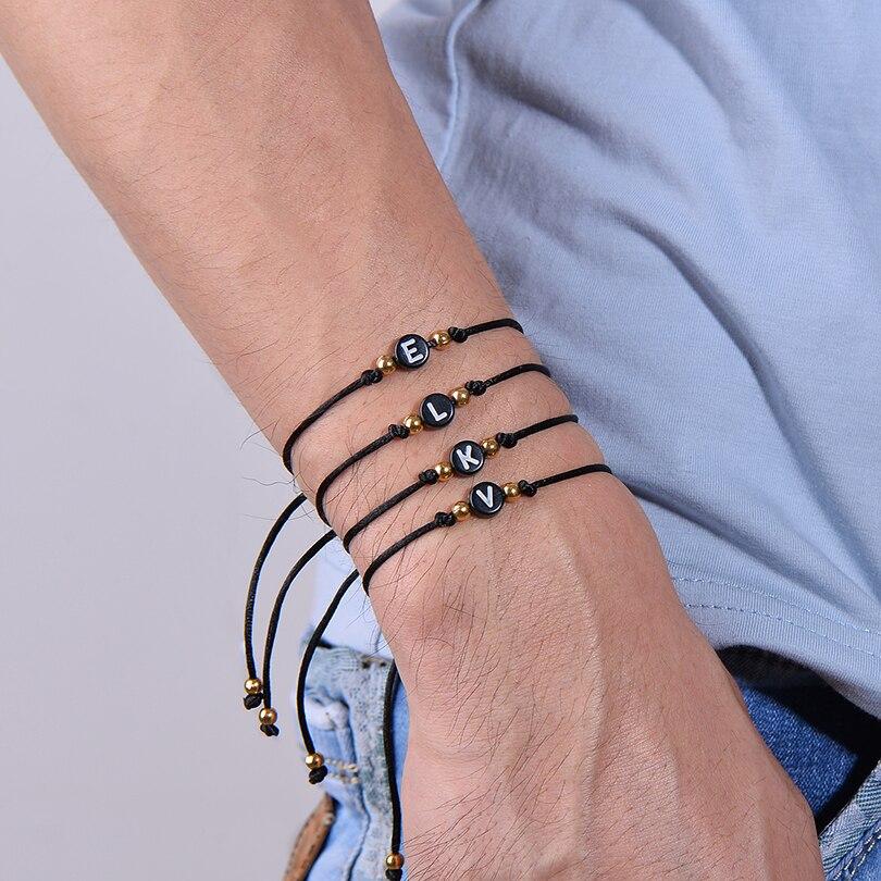 IYOE Черная веревка, 26 детской модели для женщин и мужчин, ювелирные изделия для пары, акриловые бусины в форме сердца ручной работы, браслет д...