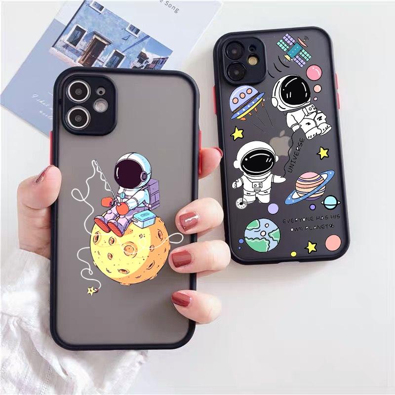 JAMULAR Funny Cartoon Astronaut Phone Case For iPhone 12 11 Pro XS MAX X 7 XR SE2020 8 6Plus Transparent Hard Cover Matte Fundas