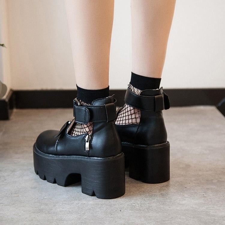 Lolita Gothic Round Head Mary Jane Shoes Japanese College Girl JK Uniform  PU Leatehr Platform Strap Waterproof Black Shoes 6