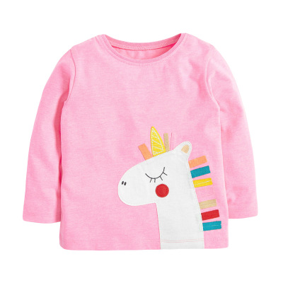 VIDMID Baby Girls Long Sleeve Casual T-shirts Kids Cotton Floral Cartoon Clothes Tops Children Girls T-shirts Tees Kids Baby Top 9