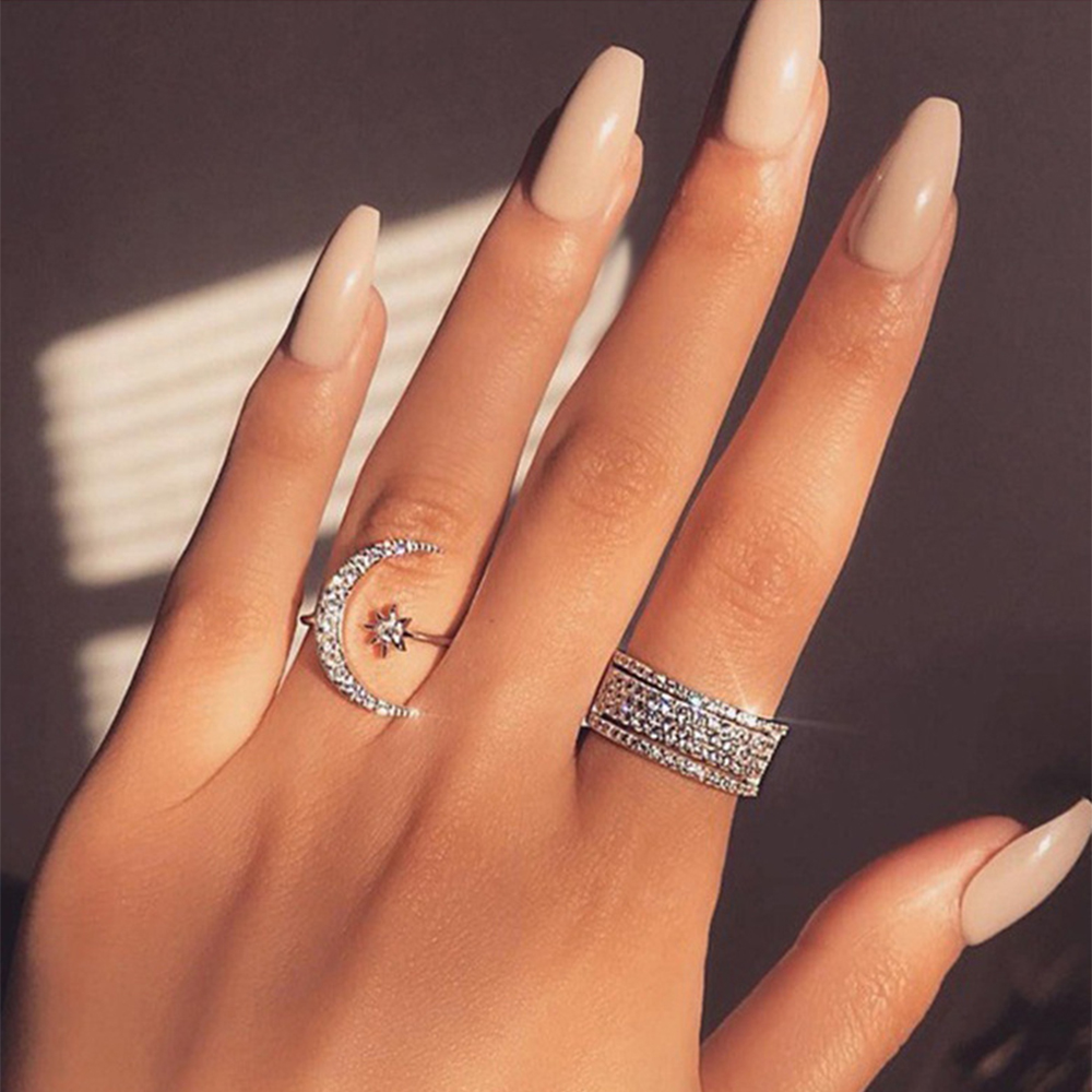 Classy Crescent Crystal Ring