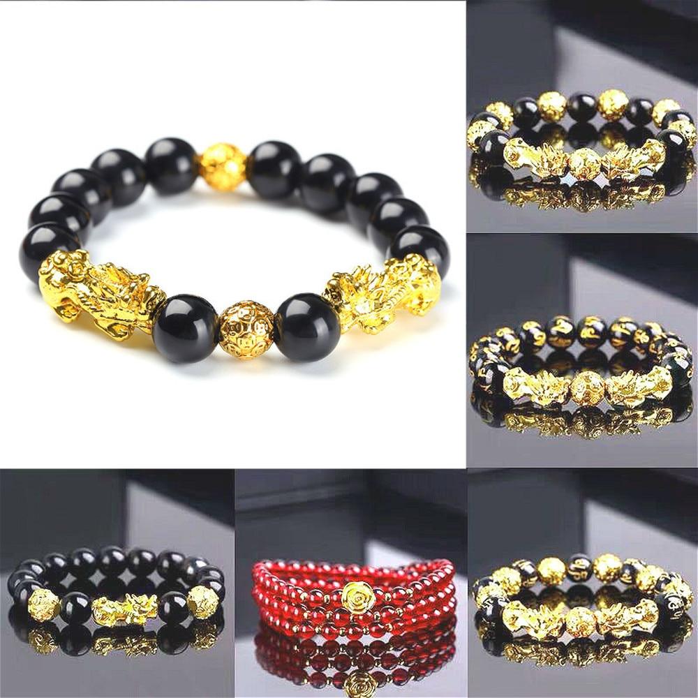 Feng shui obsidian pedra grânulos pulseira masculina mulher unissex pulseira ouro preto pixiu riqueza e boa sorte pulseira feminina