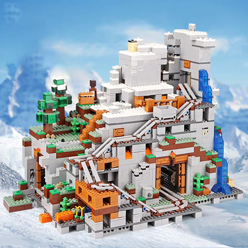 My World Famous Architecture Iron Golem Mountain Cave Building Blocks Compatible legoingLYs 21137 Christmas Toddlers kids Toys