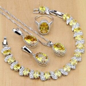 Image 1 - 925 gümüş takı sarı kübik zirkonya takı setleri kadınlar için küpe/kolye/kolye/yüzük/bilezik